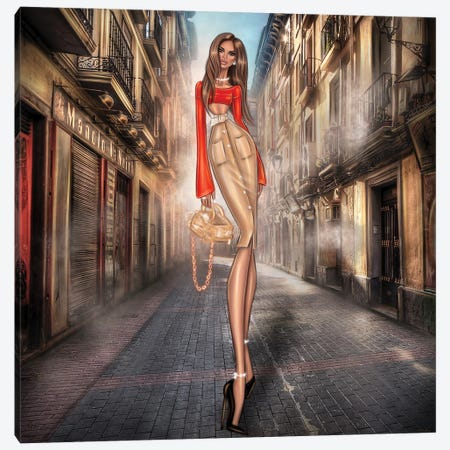 Girl On Street Canvas Print #EFE8} by Erin Felis Canvas Artwork