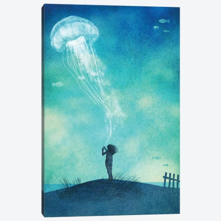 The Thing About Jellyfish Canvas Print #EFN110} by Eric Fan Canvas Print