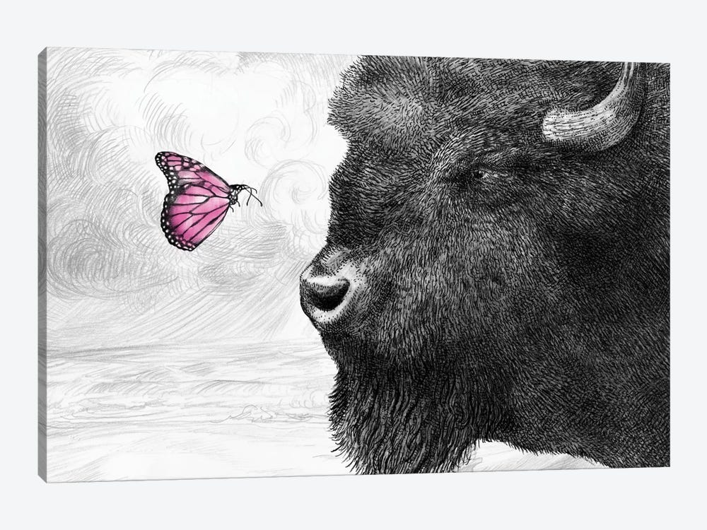 Bison and Butterfly by Eric Fan 1-piece Canvas Art Print