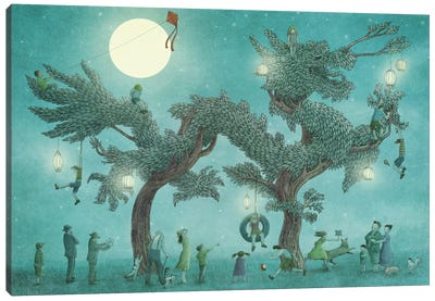Dragon Tree At Night Canvas Art Print