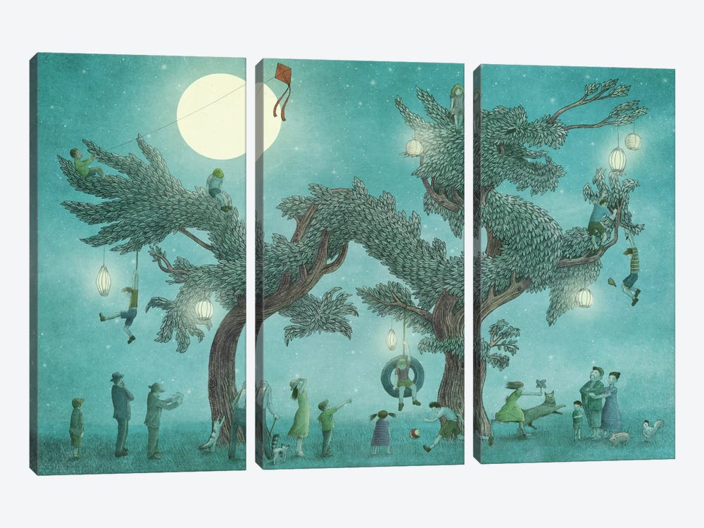 Dragon Tree At Night 3-piece Canvas Wall Art