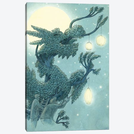 Illustrations From The Night Gardner: Dragon Tree At Night Set-Up Canvas Print #EFN55} by Eric Fan Canvas Print