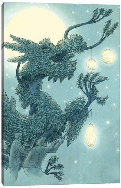 Illustrations From The Night Gardner: Dragon Tree At Night Set-Up Canvas Art Print