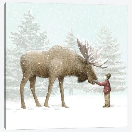 Winter Moose Canvas Print #EFN68} by Eric Fan Canvas Print