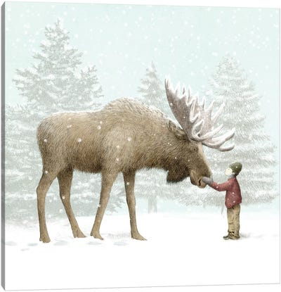 Winter Moose Canvas Art Print