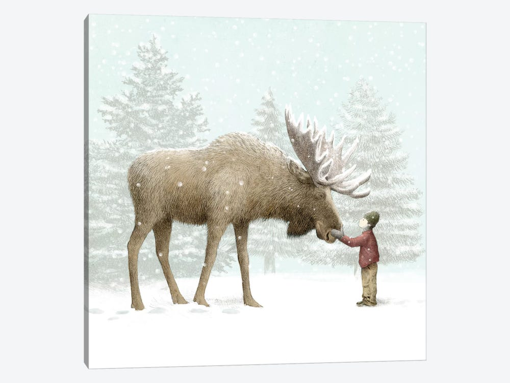 Winter Moose 1-piece Canvas Art Print