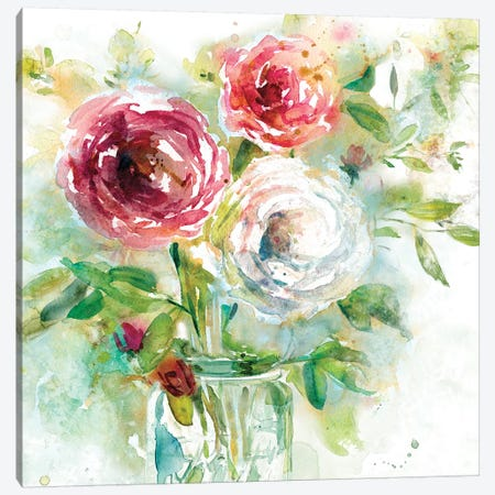 Garden Jar I Canvas Print #EFR2} by Elizabeth Franklin Canvas Artwork