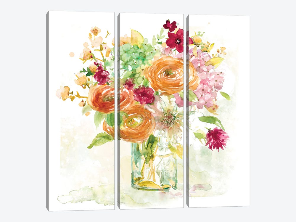 Garden Jar III by Elizabeth Franklin 3-piece Canvas Print