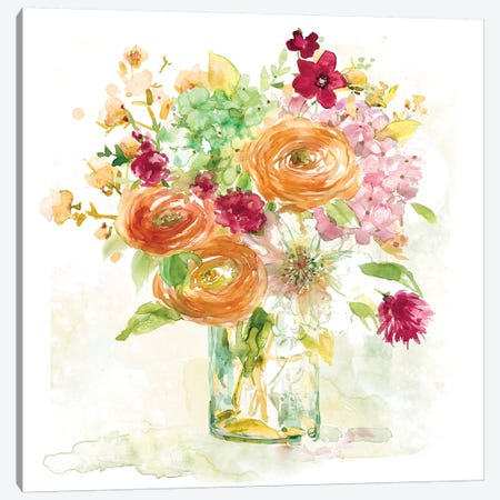 Garden Jar III Canvas Print #EFR4} by Elizabeth Franklin Art Print