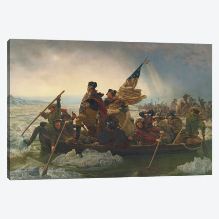 Washington Crossing The Delaware River (25th December 1776), 1851 Canvas Print #EGB1} by Emanuel Gottlieb Leutze Canvas Art