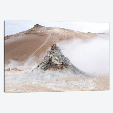 Iceland, Lake Myvatn District, Hverir Geothermal Area. Numerous Thermal Vents Sitting Next To A Hill Of Reddish Lava. 3-Piece Canvas #EGO100} by Ellen Goff Canvas Art Print