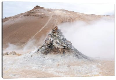 Iceland, Lake Myvatn District, Hverir Geothermal Area. Numerous Thermal Vents Sitting Next To A Hill Of Reddish Lava. Canvas Art Print