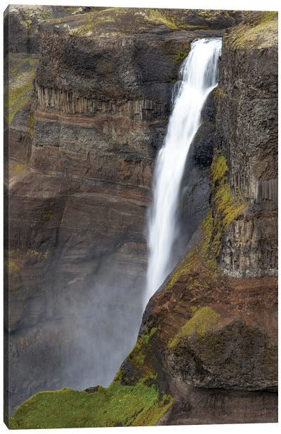 Iceland, Southern Highlands, Haifoss Waterfall. The Fossa River Flowing Over The Cliffs, Plunging 122 Meters. Canvas Art Print
