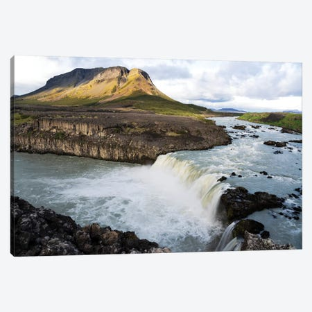 The Pjorsa River Flowing Into The Pjofafoss Waterfall With Mount Burfell In The Background, Southern Highlands, Iceland Canvas Print #EGO102} by Ellen Goff Canvas Art Print