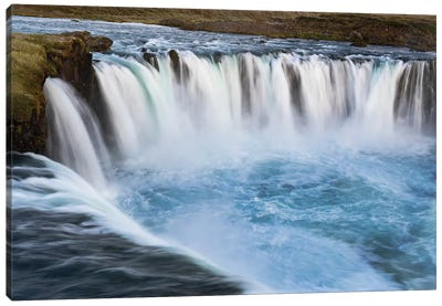 Iceland, Godafoss waterfall. The waterfall stretches over 30 meters with multiple small waterfalls at the edges. Canvas Art Print