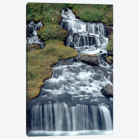 Iceland, Hraunfossar. Tiny cascades emerge from the lava to flow into the Hvita River over a half mile stretch. Canvas Print #EGO132} by Ellen Goff Canvas Wall Art