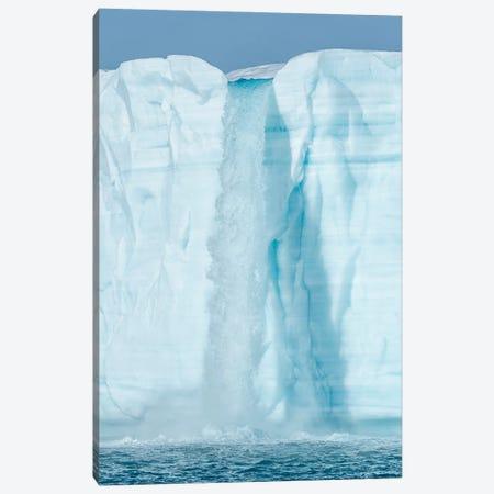 Arctic, Svalbard, Nordaustlandet Island. Waterfalls cascading from the melting glacier. Canvas Print #EGO133} by Ellen Goff Canvas Wall Art
