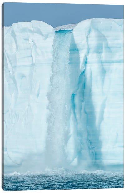 Arctic, Svalbard, Nordaustlandet Island. Waterfalls cascading from the melting glacier. Canvas Art Print