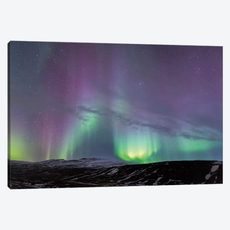 Iceland, Akureyri. Northern Lights glowing I Canvas Print #EGO17} by Ellen Goff Canvas Print