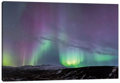 Iceland, Akureyri. Northern Lights glowing I Canvas Art Print