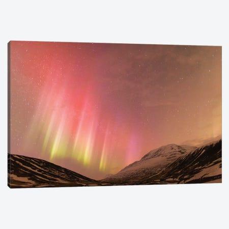 Iceland, Akureyri. Northern Lights glowing II Canvas Print #EGO18} by Ellen Goff Canvas Art