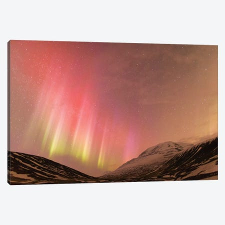 Iceland, Akureyri. Northern Lights glowing II Canvas Print #EGO18} by Ellen Goff Canvas Art