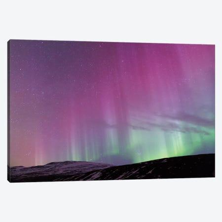 Iceland, Akureyri. Northern Lights glowing III Canvas Print #EGO19} by Ellen Goff Canvas Wall Art