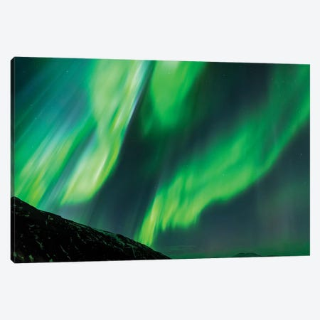 Iceland, Akureyri. Northern Lights glowing IV Canvas Print #EGO20} by Ellen Goff Canvas Print