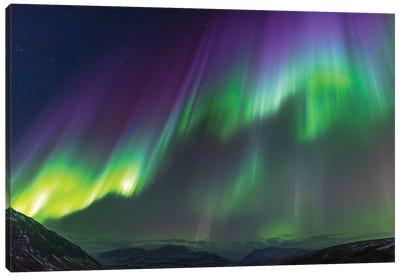 Iceland, Akureyri. Northern Lights glowing V Canvas Art Print