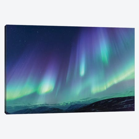 Iceland, Akureyri. Northern Lights glowing VI Canvas Print #EGO22} by Ellen Goff Canvas Art Print