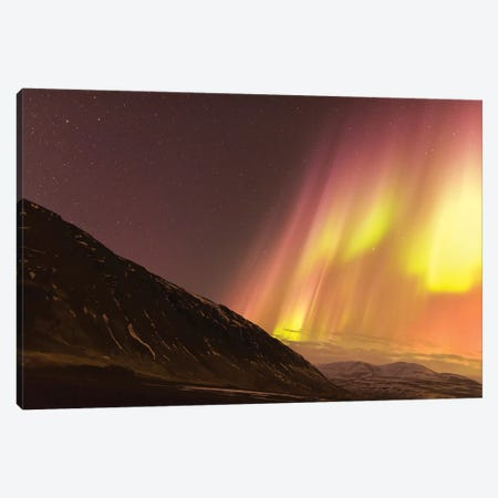 Iceland, Akureyri. Northern Lights glowing VII Canvas Print #EGO23} by Ellen Goff Canvas Art Print