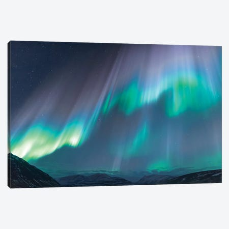Iceland, Akureyri. The northern lights glow in unbelievable colors I Canvas Print #EGO24} by Ellen Goff Canvas Wall Art