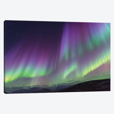 Iceland, Akureyri. The northern lights glow in unbelievable colors II Canvas Print #EGO25} by Ellen Goff Canvas Wall Art