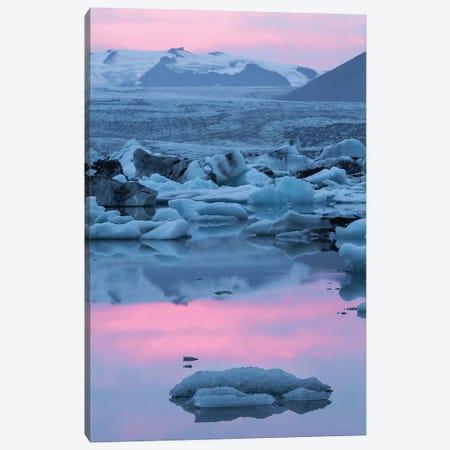 Iceland, Skaftafell National Park, Lake Jokulsarlon. Lake Jokulsarlon at sunset. Canvas Print #EGO29} by Ellen Goff Art Print