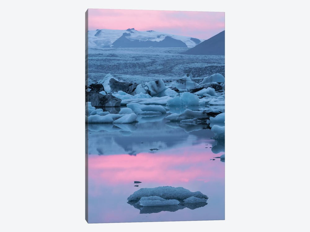 Iceland, Skaftafell National Park, Lake Jokulsarlon. Lake Jokulsarlon at sunset. by Ellen Goff 1-piece Canvas Art Print