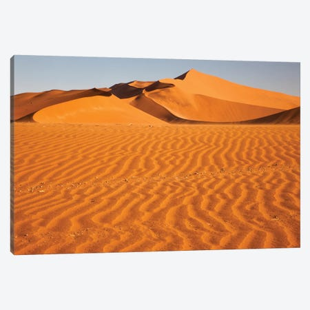 Namibia, Namib-Naukluft National Park, Sossusvlei. Scenic red dunes with wind driven patterns. Canvas Print #EGO32} by Ellen Goff Canvas Artwork