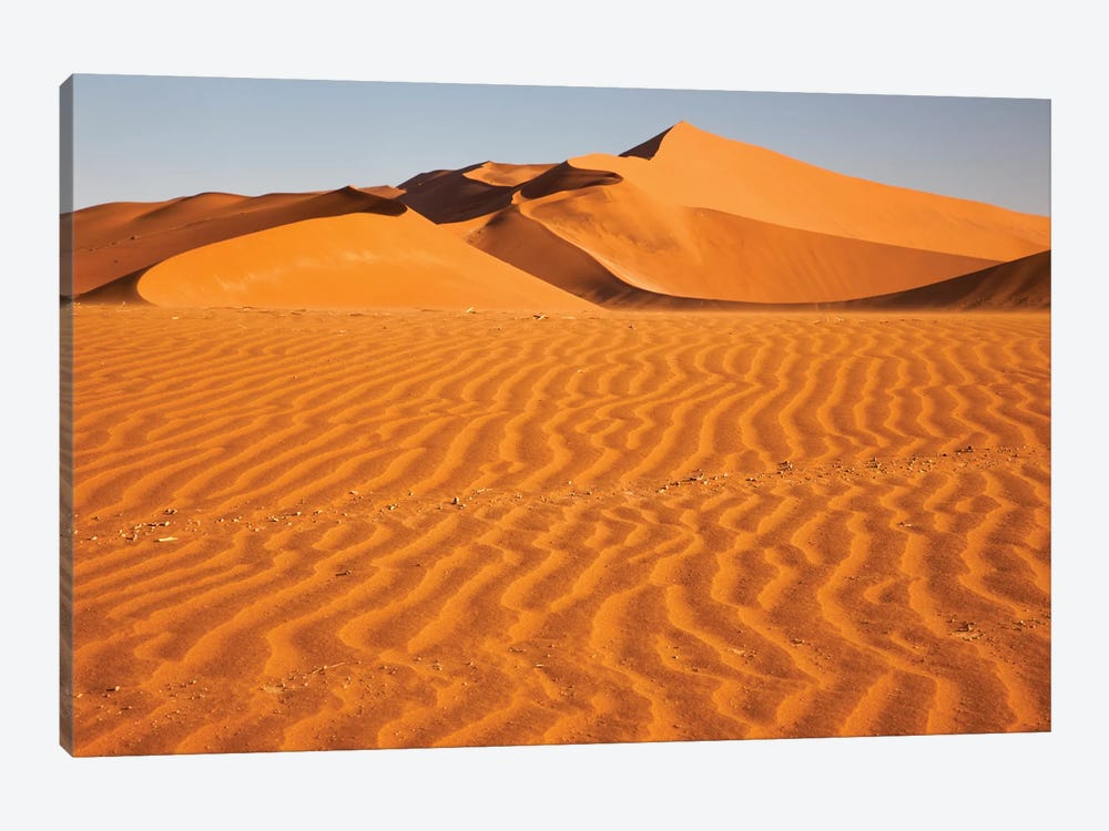 Namibia, Namib-Naukluft National Park, Sossusvlei. Scenic red dunes with wind driven patterns. by Ellen Goff 1-piece Art Print