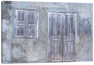 Africa, Madagascar, Fort Dauphin, Tolanaro Marketplace. A Shuttered Home Showing The Muted Colors Of Weathered Wood. Canvas Art Print