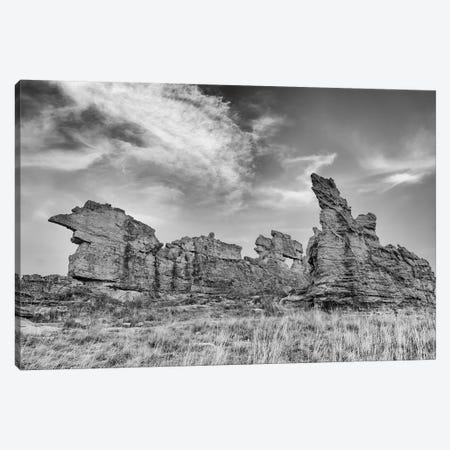 Africa, Madagascar, Isalo National Park. The Clouds Set Off The Sandstone Formation In This Black And White Rendition. Canvas Print #EGO90} by Ellen Goff Canvas Artwork