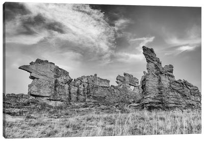 Africa, Madagascar, Isalo National Park. The Clouds Set Off The Sandstone Formation In This Black And White Rendition. Canvas Art Print