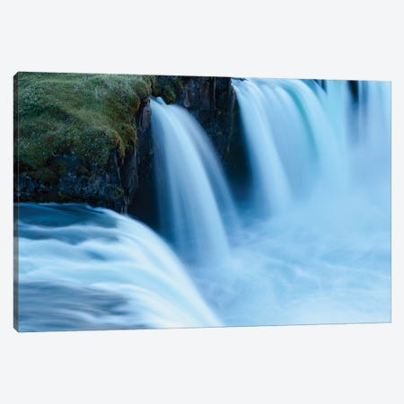 Iceland, Godafoss Waterfall. Some Of The Small Falls On The Edges Of The Main Fall Look Blue In The Evening Light. Canvas Print #EGO94} by Ellen Goff Canvas Print