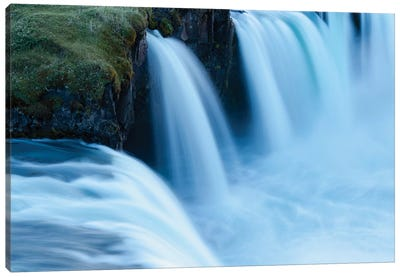 Iceland, Godafoss Waterfall. Some Of The Small Falls On The Edges Of The Main Fall Look Blue In The Evening Light. Canvas Art Print