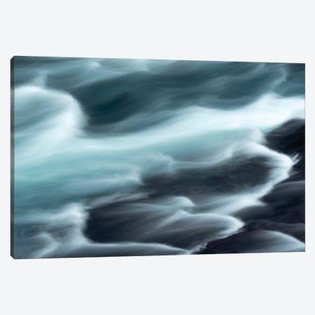 Iceland, Hraunfossar, Hvita River. The Hvita River Flow Quickly, Creating Patterns With A Slow Shutter Speed. Canvas Print #EGO96} by Ellen Goff Canvas Print