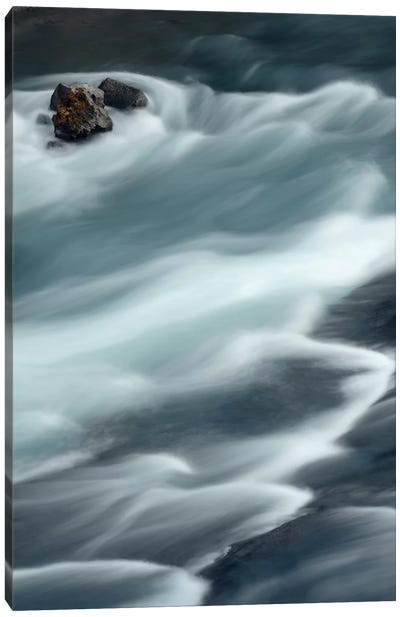 Iceland, Hraunfossar, Hvita River. The Hvita River Flow Quickly, Creating Patterns With A Slow Shutter Speed. Canvas Art Print