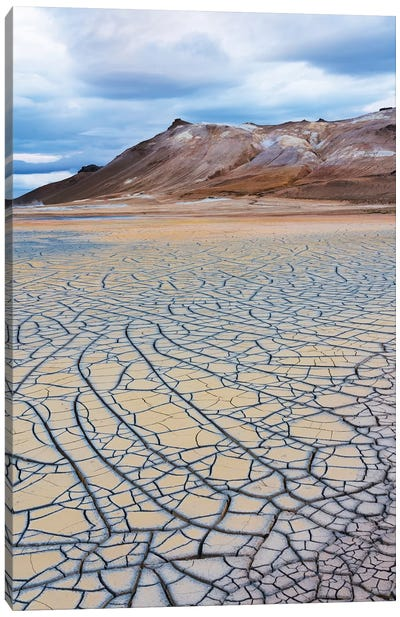 Iceland, Lake Myvatn District, Hverir Geothermal Area, Mud Flats. Patterns Of Drying Mud Near The Geothermal Area. Canvas Art Print