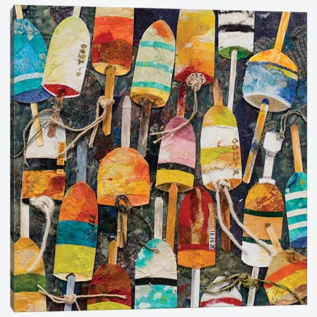 Buoy Collage Square Canvas Print #EGR3} by Edith Green Art Print
