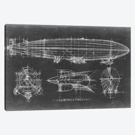 Airship Blueprint Canvas Print #EHA11} by Ethan Harper Canvas Artwork