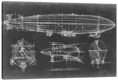 Airship Blueprint Canvas Art Print