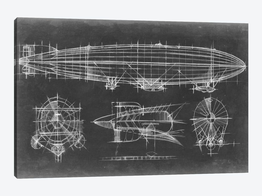 Airship Blueprint by Ethan Harper 1-piece Canvas Art