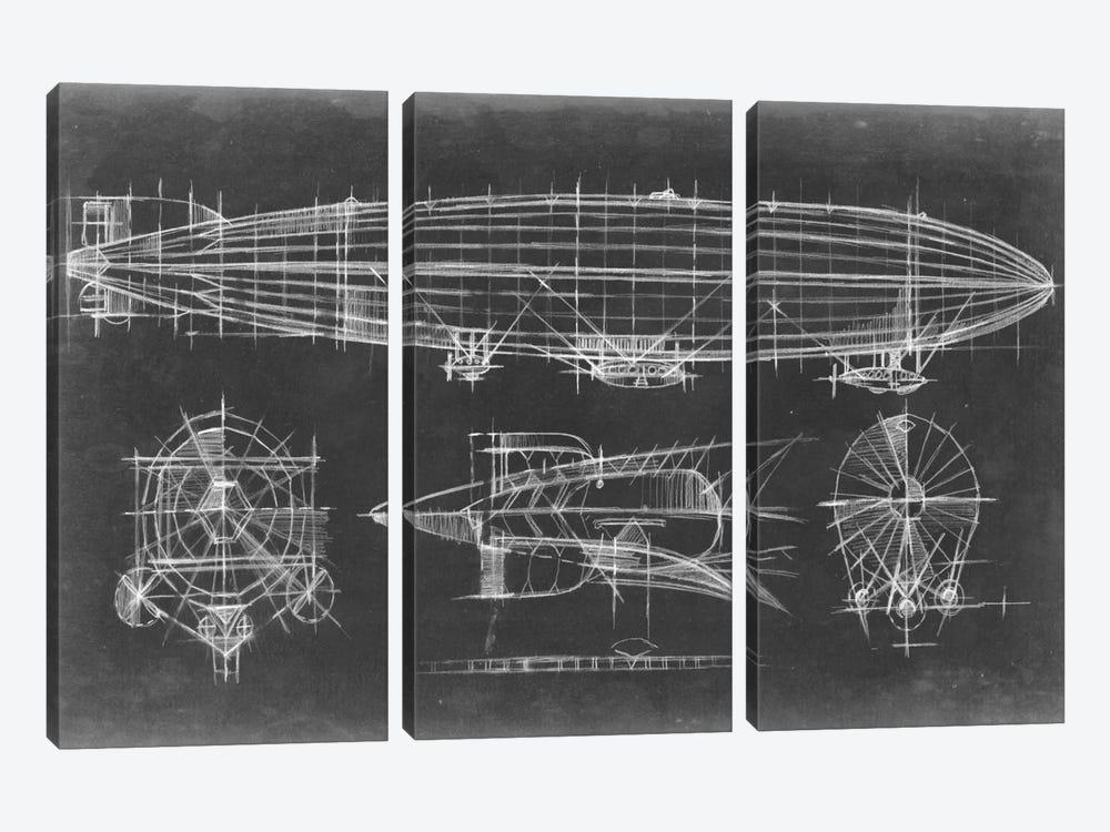 Airship Blueprint by Ethan Harper 3-piece Canvas Art